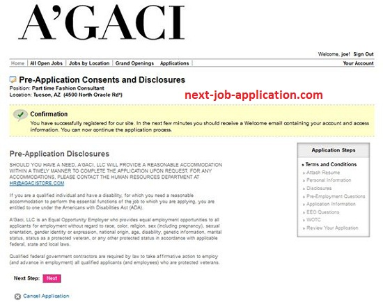 A'GACI Job Application Apply Online