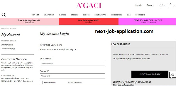 A'GACI Job Application Apply Online CREATE A ACOUNT & SING IN.